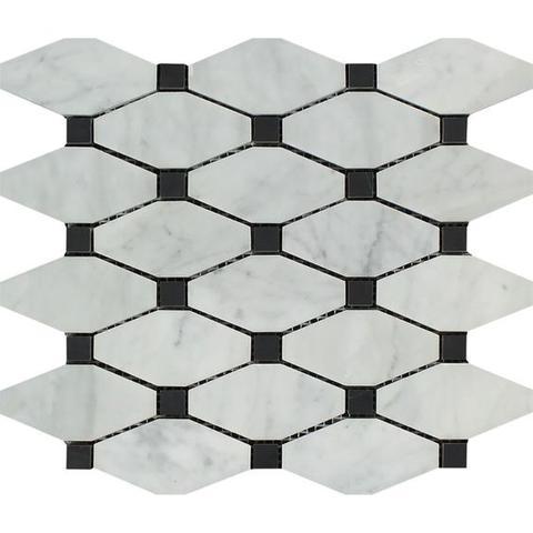 carrara diamond bianco marble polished long octagon black dot mosaic decorative tile buy octagonal marble mosaic octagon decorative mosaic marble
