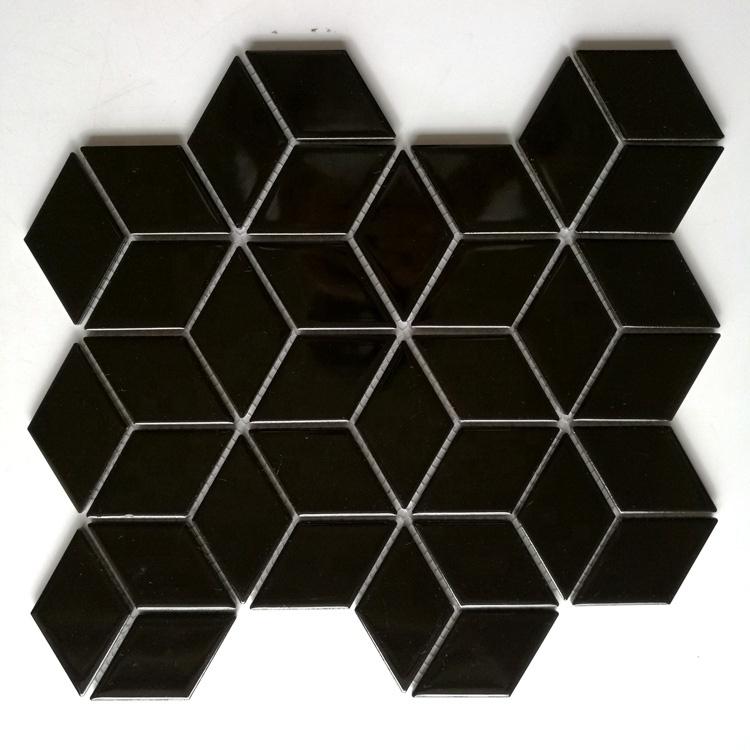 rhombus shape 3d black and white ceramic mosaic tile for bathroom and kitchen backsplash buy rhombus mosaic rhombus shape items kitchen backsplash