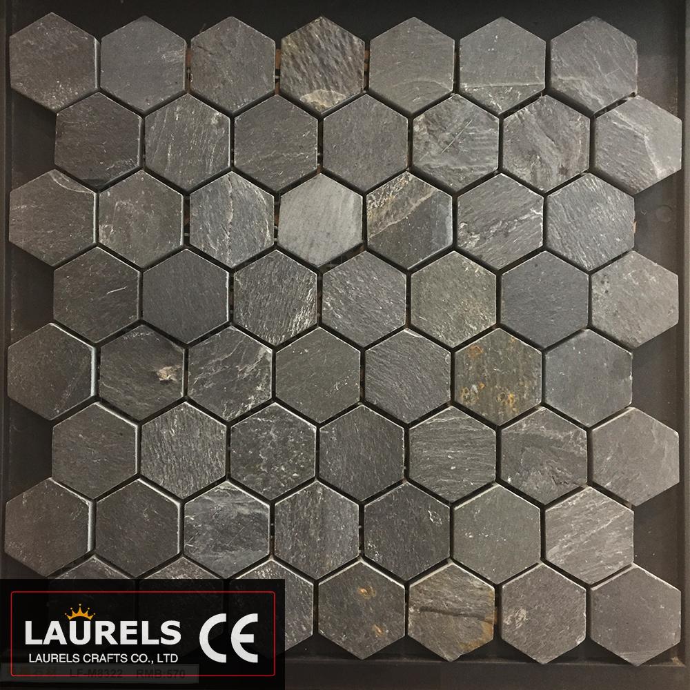 natural black slate hexagon mosaic for wholesale buy hexagon mosaic tile slate mosaic mosaico de piedra product on alibaba com