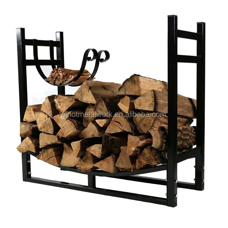 iron firewood log rack with kindling holder metal indoor log rack steel outdoor wood rack buy indoor firewood storage racks wrought iron log