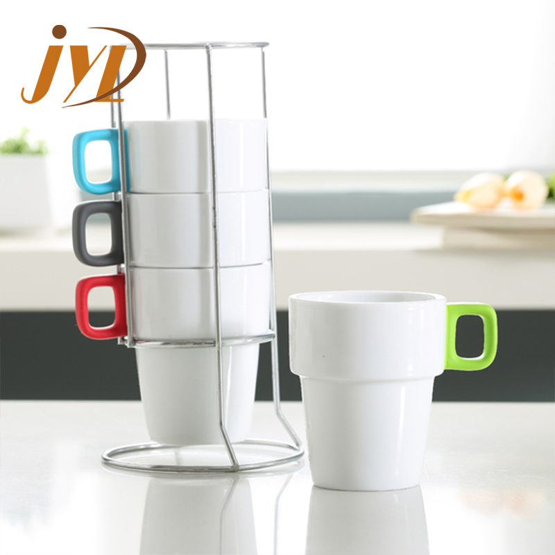 280cc stackable coffee mugs with rubber coating handles and rack buy stackable coffee mugs with rack stackable coffee mug stackable mug product on