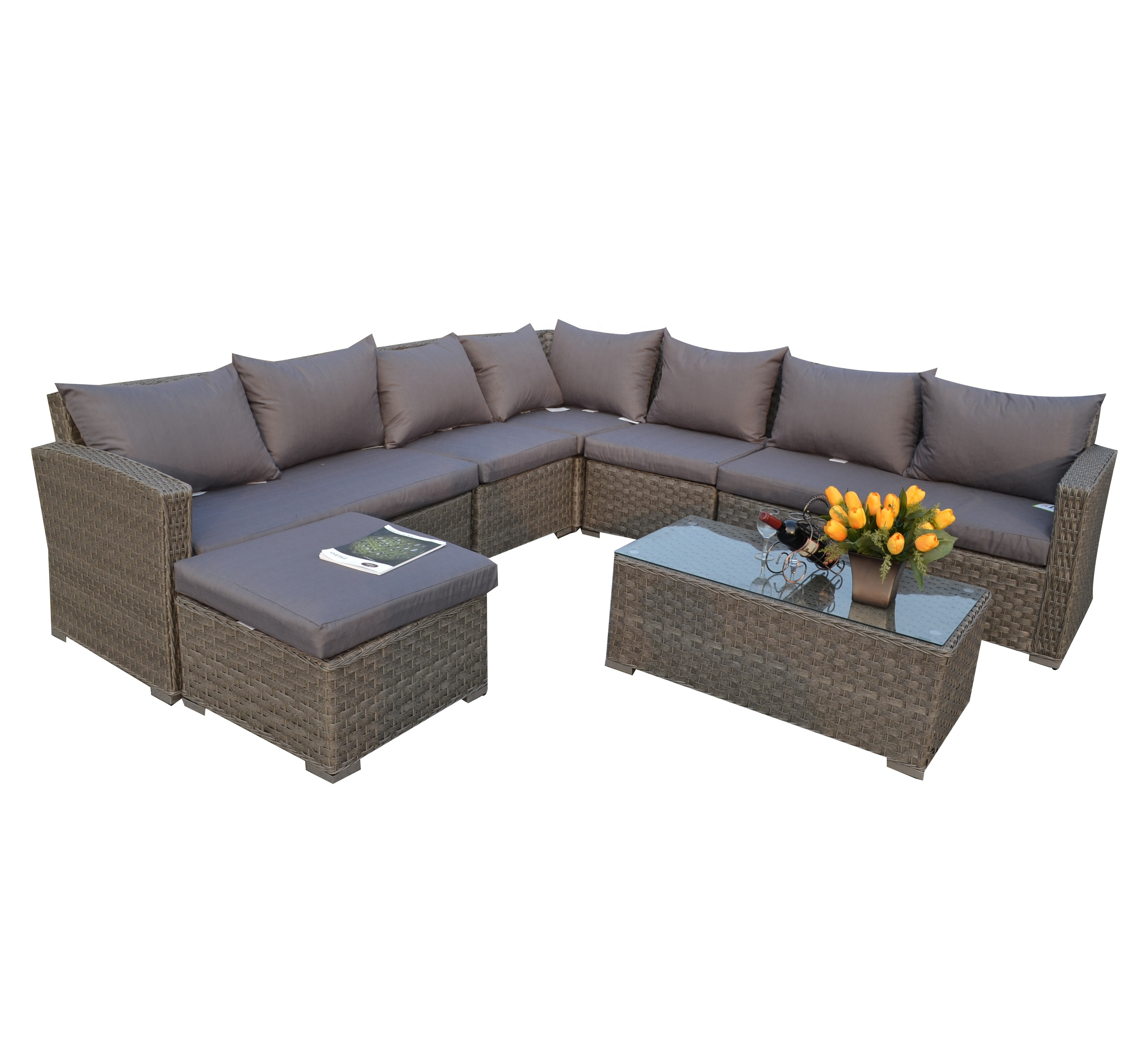 rattan wicker weave l shape sofa cum bed royal garden line patio furniture view royal garden patio furniture moda product details from anhui morden