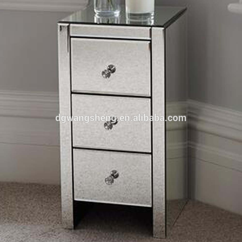 mordern bedroom mirrored glass bedside table with 3 drawers and glass handless buy bedside table mirrored glass bedroom furniture side tables