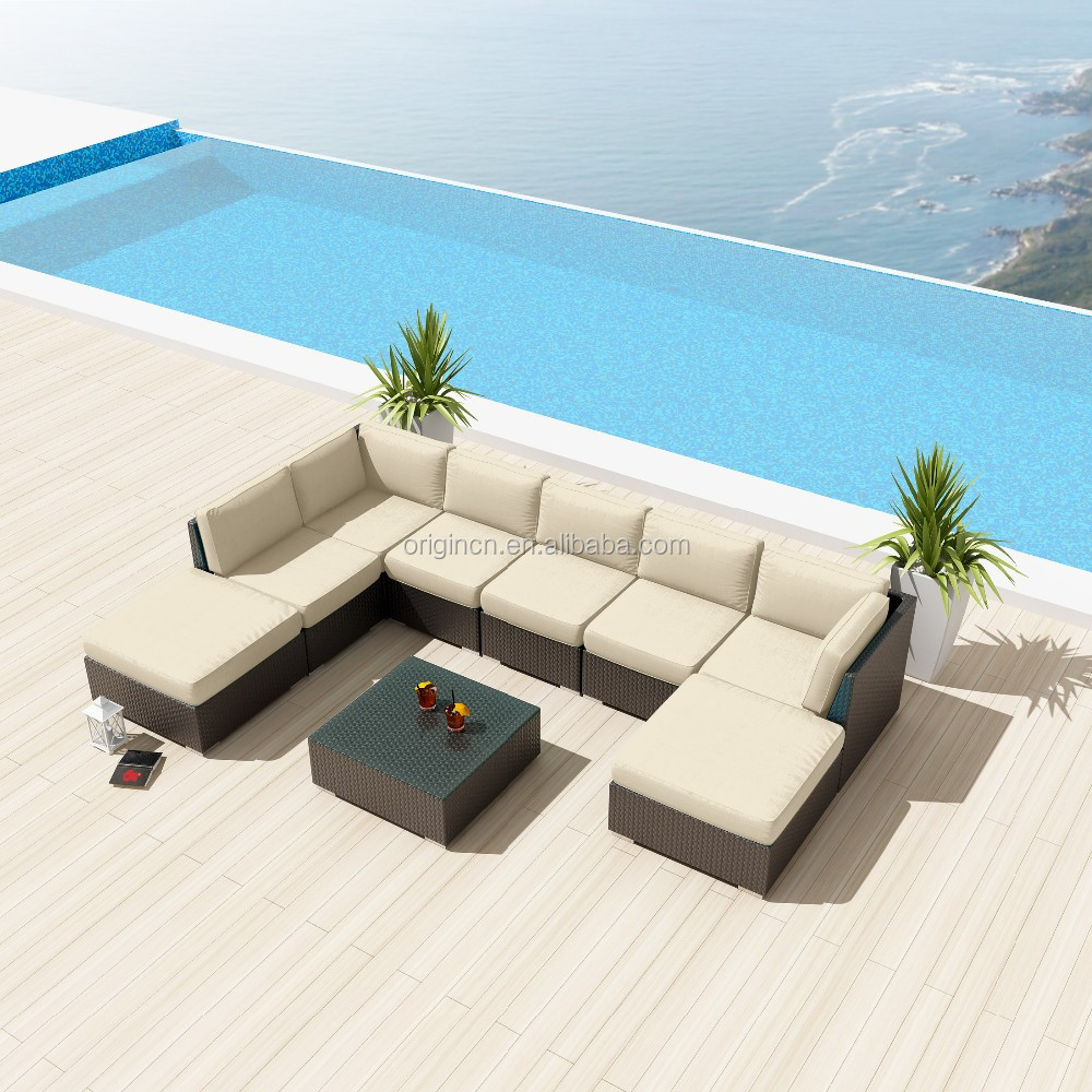 outdoor patio u shape sectional synthetic rattan wicker sofa 9 pc courtyard furniture view courtyard furniture oem origin product details from
