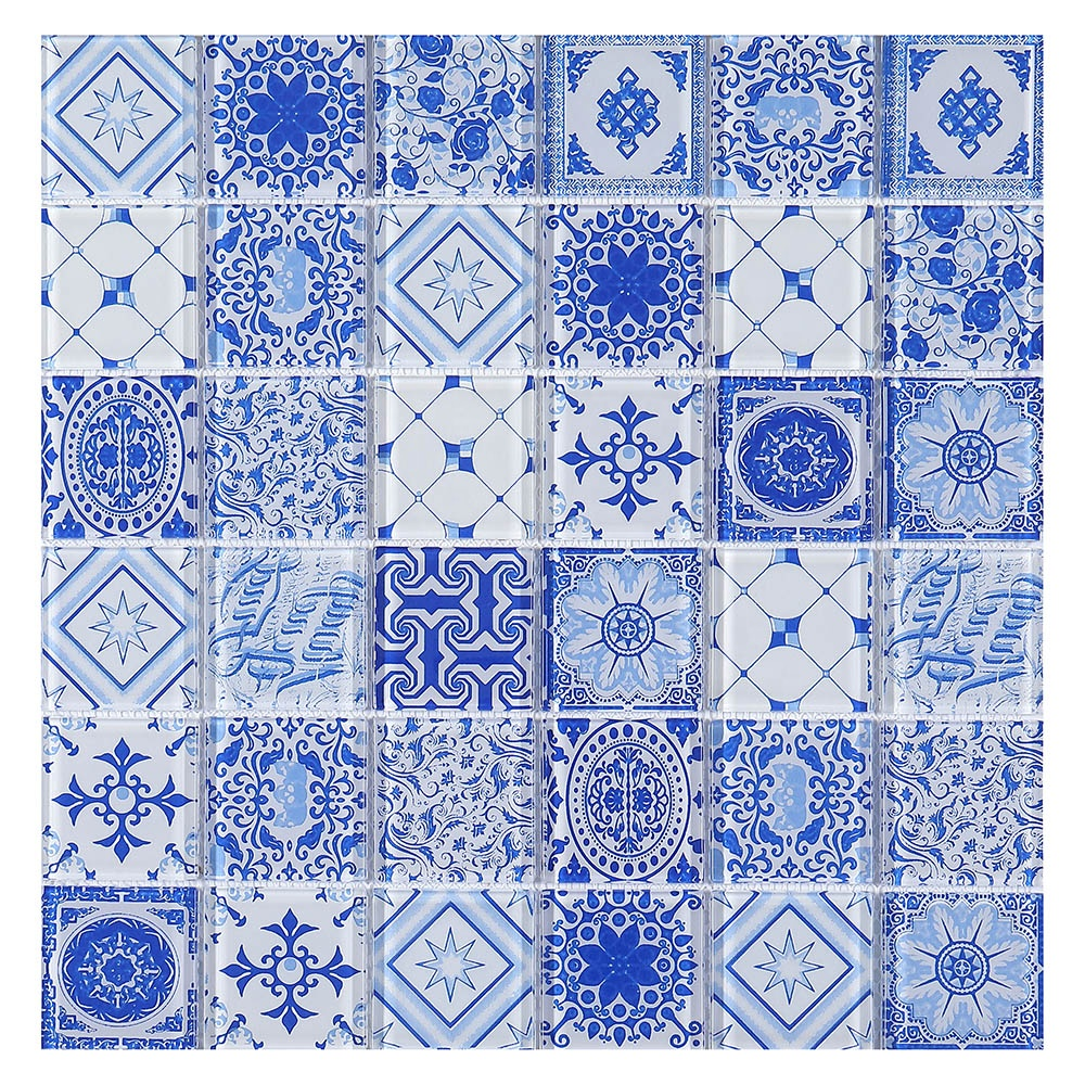 antique arabesque blue family flower design crystal glass mosaic tiles buy antique arabesque crystal glass mosaic tiles blue family crystal glass