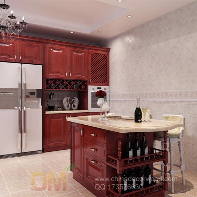 kingseven armoire de cuisine rouge avec corillons sculptures en bois classiques buy style contemporain prefabrique en bois massif personnaliser