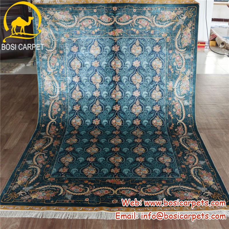 henan bosi 5 5x8ft royal bleu decoration de la maison de style iranien a la main tapis de soie persan tapis de soie buy tapis en soie