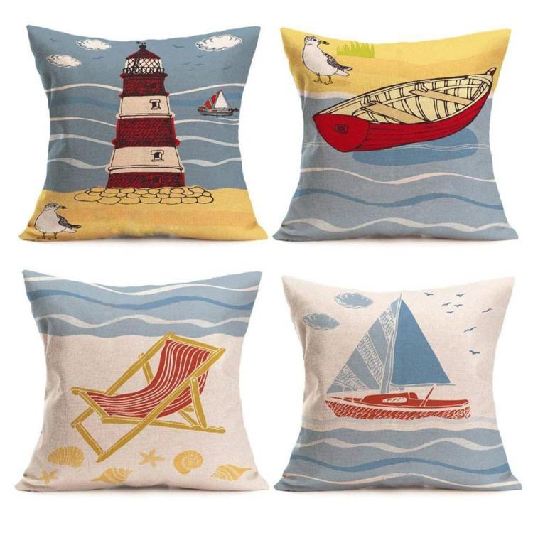 beach pillow covers cotton linen coastal throw pillowcases sea theme cushion cover 18 x 18 inch home decor buy beach pillow covers patio garden