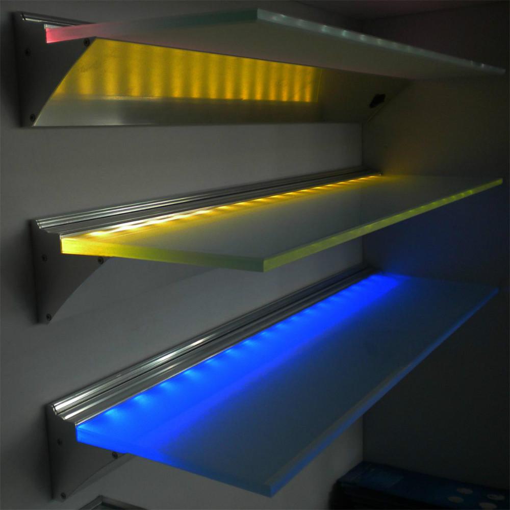 etagere murale a lumiere led 220 v nouveau design lumiere decorative pour vitrine de bijoux etagere murale en verre blanc bleu rgb buy etagere