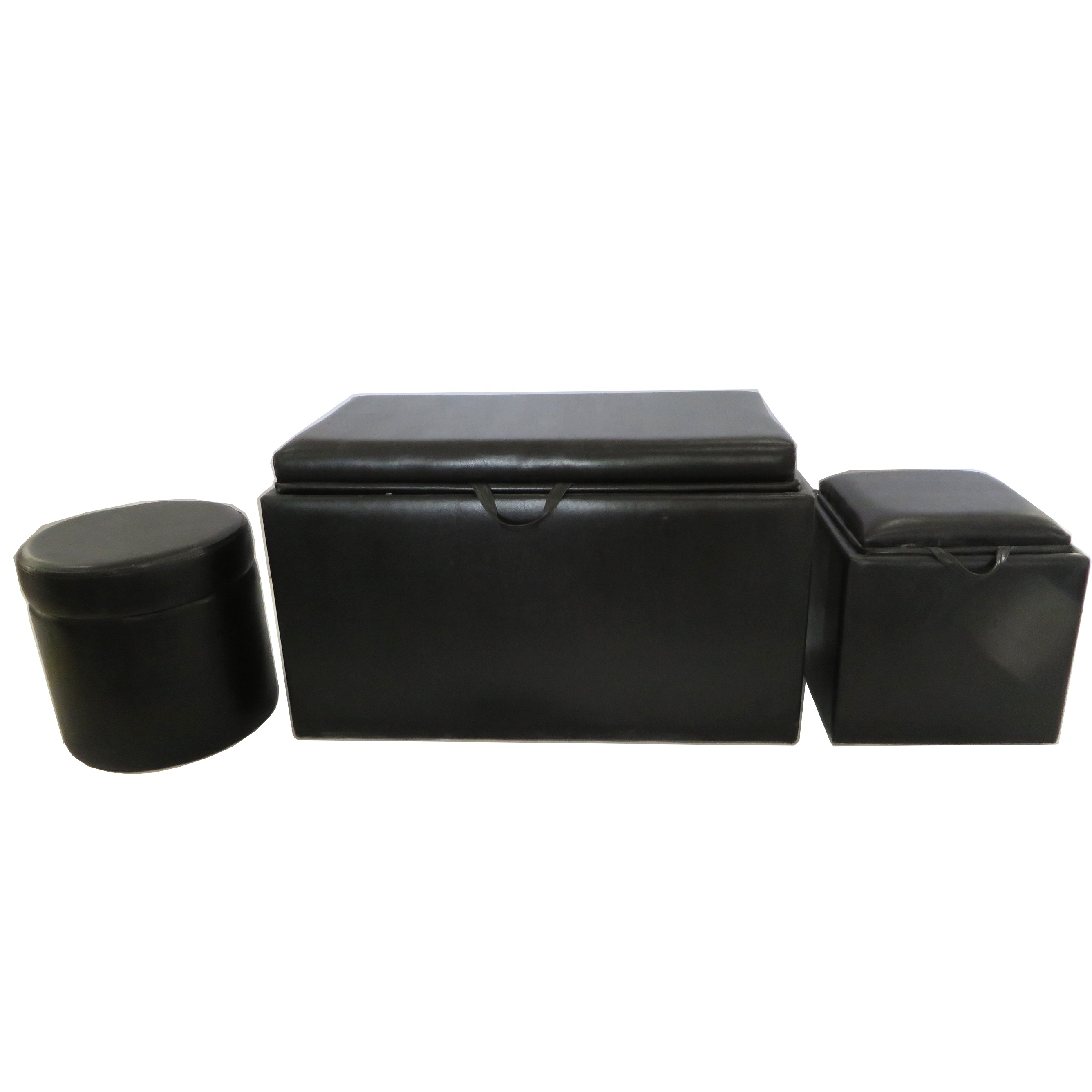 bedroom furniture black leather storage wooden bench seat with one bench and two round ottoman buy bench seat wooden bench seat storage wooden bench seat product on alibaba com