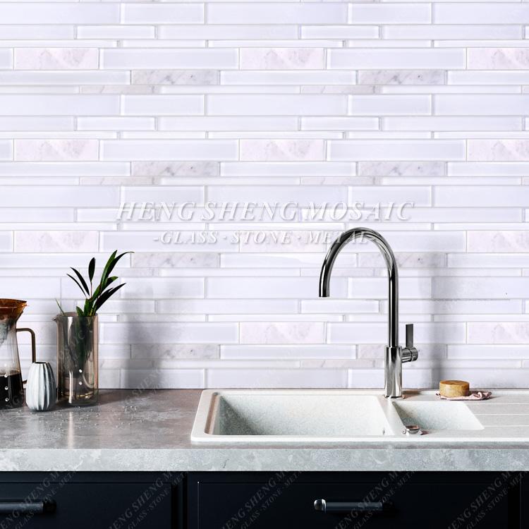 hot sale latest design white carrara marble mixed glass mosaic kitchen backsplash subway tile buy kitchen tile kitchen glass backsplash subway tile