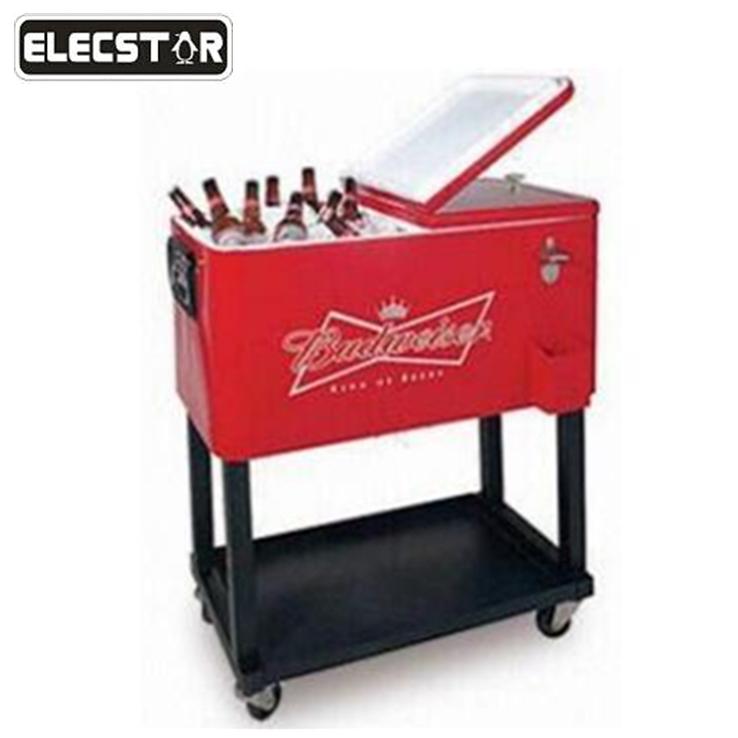 party patio beverage drink rolling cooler cart with wheel metal cooler box steel patio cooler with cart buy beverage drink rolling cooler cart steel