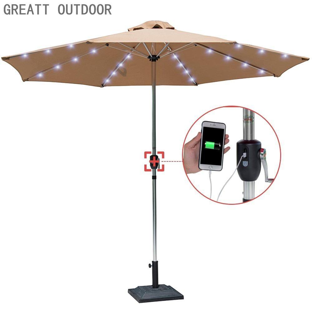 hot sale solar lighting outdoor garden patio beach umbrella with usb mobile phone charger buy outdoor umbrellas usb charging umbrella patio umbrella