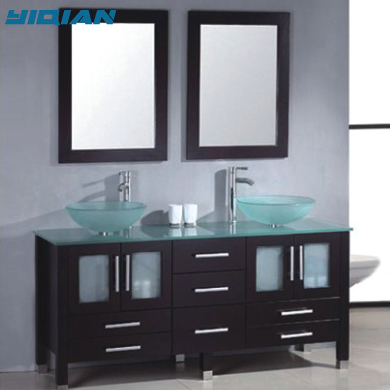 bathroom vanity freestanding 60 frost counter and double glass bowl sink modern style solid wood bath vanity buy bathroom vanity bathroom glass
