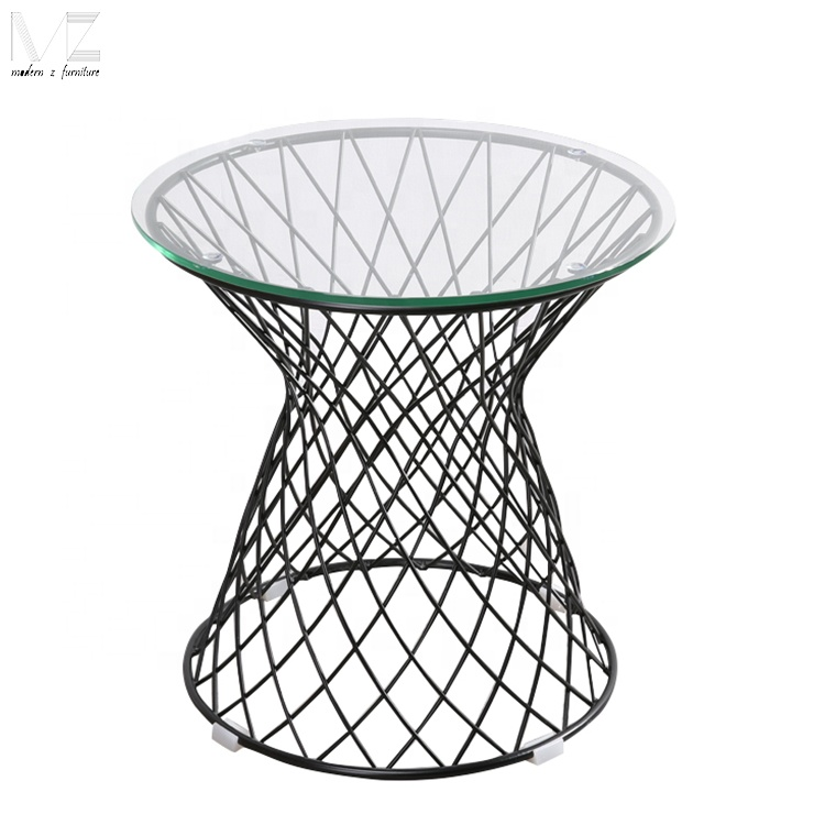 modern round 8mm temper glass coffee table with powder coated metal wire base buy modern round glass coffee table metal wire coffee table metal side