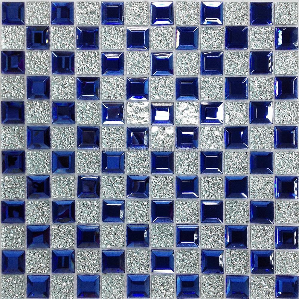 ocean blue silver edging mirror tile 3d crystal glass strip mosaic tiles for backsplash deco bathroom art buy crystal glass strip mosaic