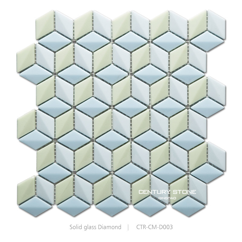 glossy candy solid glass light green 3d rhombus kitchen mosaic tile buy kitchen mosaic tile rhombus mosaic tile solid glass mosaic tile product on