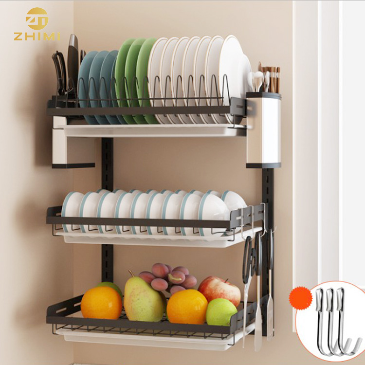201 stainless steel 3 tiers wall mounted dish drying rack drainer hanging rack with pp water tray buy 3 tiers dish drainer wall mounted rack hanging