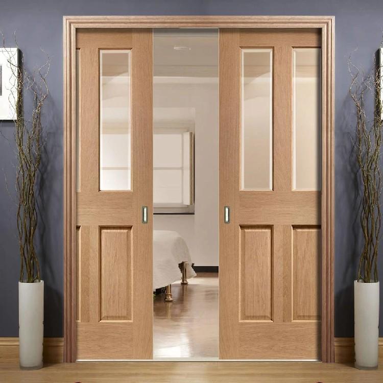 porte d entree interieure en bois de chene massif hs wps1 design moderne a double poches portes en verre coulissant buy portes coulissantes en verre
