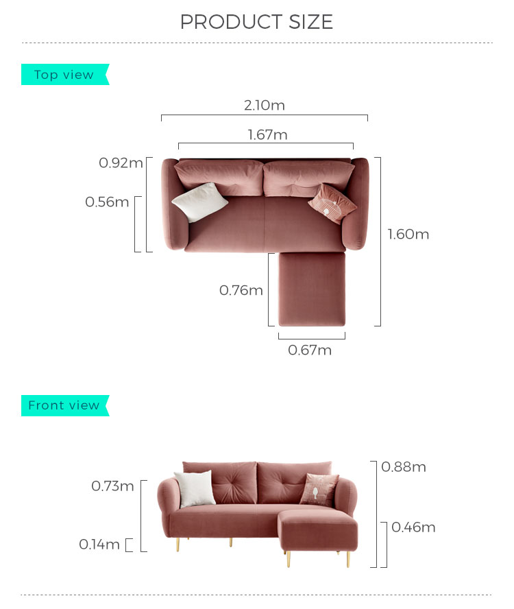 Linsy Fashionable Hot Selling Living Room Fabric Sofa Couch Small Apartment Size Red Yellow Soft Fabric Upholstery Sofa S113