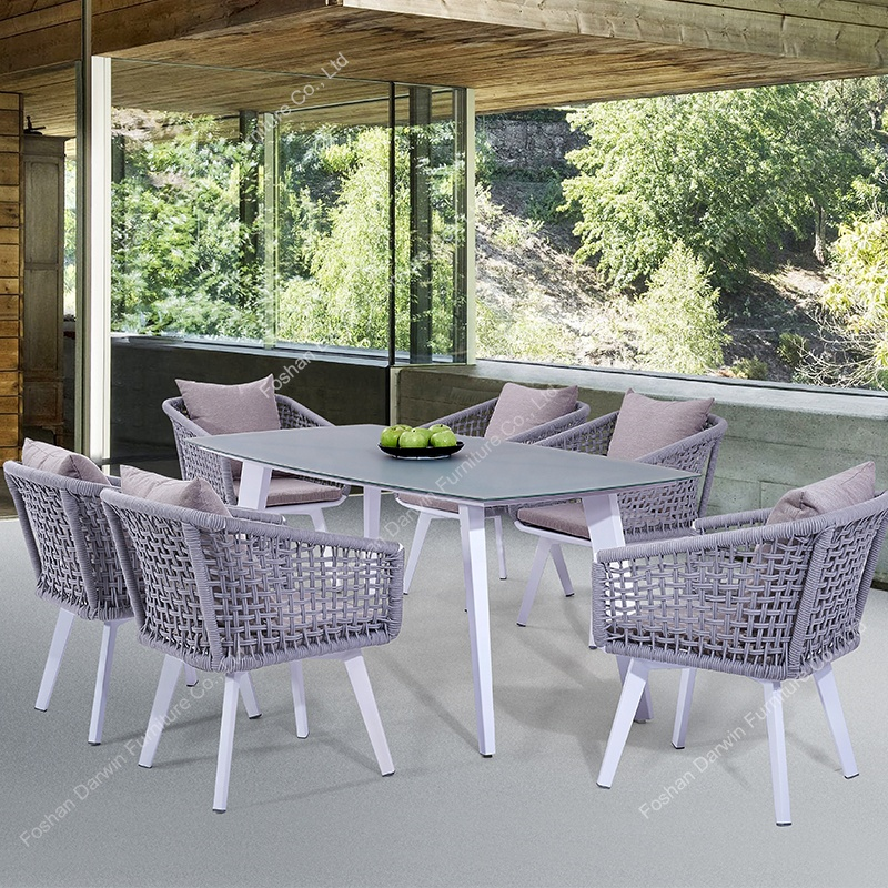modern european aluminum patio outdoor dining sets rattan table and chair rope garden furniture buy garden furniture garden dining table and