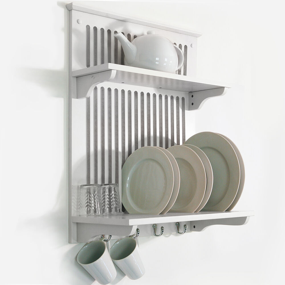 wall mounted bamboo plate rack solid wood dish rack drying plate holder rack for 2 tier storage cup bowl shelf buy wall mounted bamboo plate
