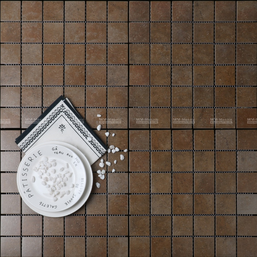 clearance 2x2 inch square pattern print matte bathroom shower floor porcelain mosaic tile that looks like marble buy porcelain mosaic tile that