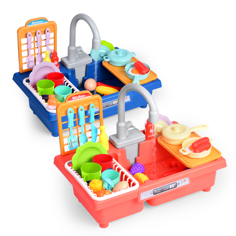 in stock 26pcs kitchen play sink toys electric dishwasher playing toy with running water house pretend role play toys for kids buy electric