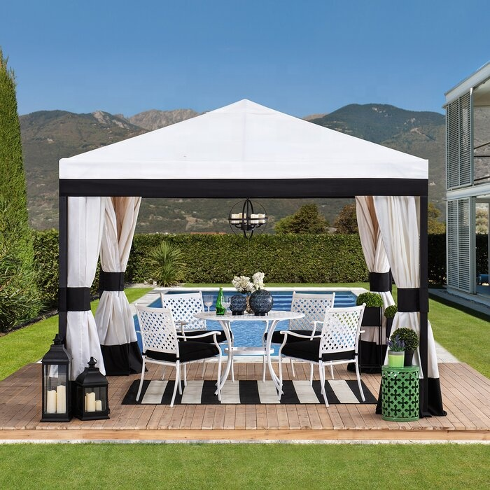 abccanopy 10 ft w x 10 ft d steel patio gazebo white roof with white side wall white mesh walls buy white outdoor gazebo 10x10 gazebos gazebo with mosquito netting product on