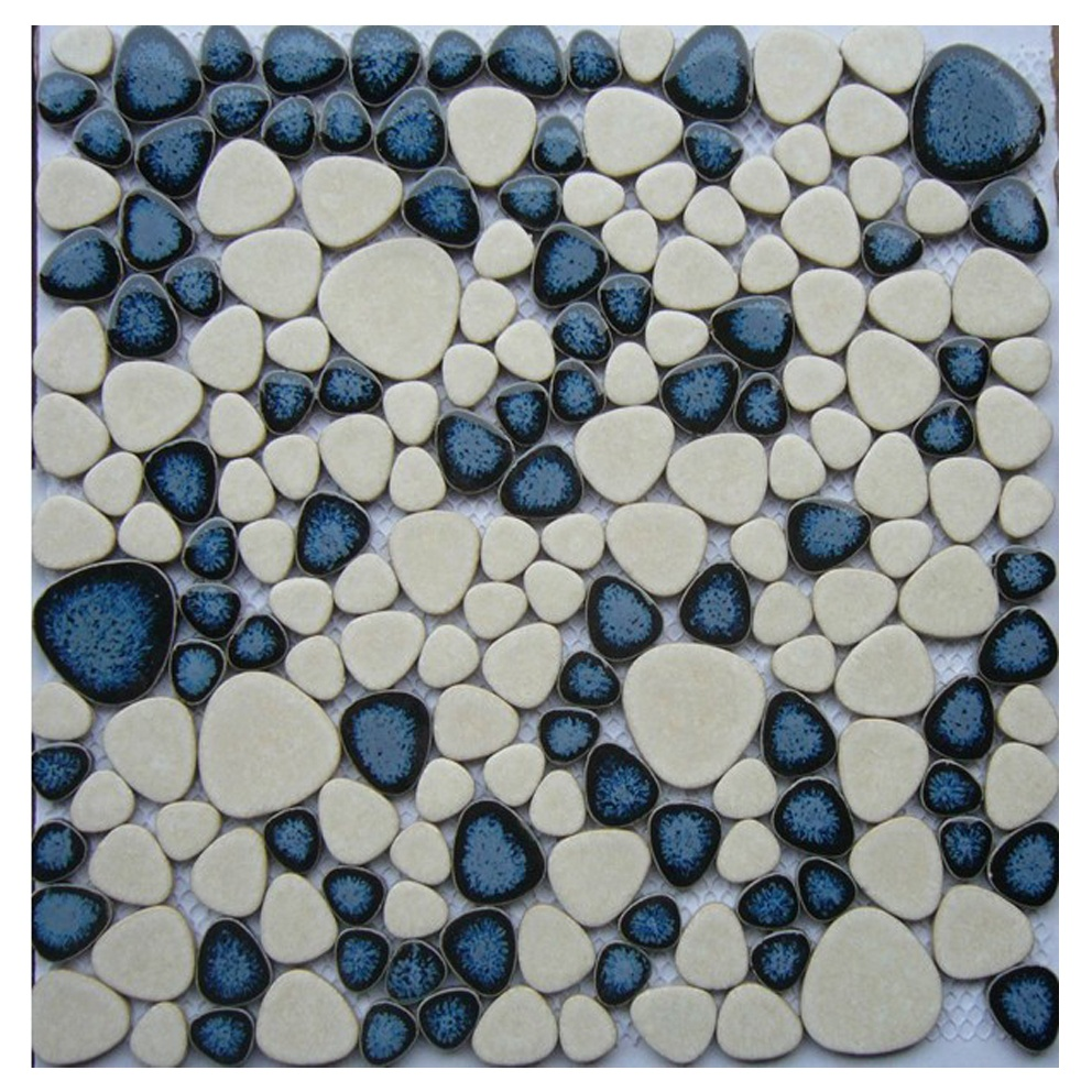 glazed blue mix white pebble mosaic tile bathroom 8x8 ceramic floor tile pebble mosaic buy ceramic blue and white floor tile pebble mosaic 8x8