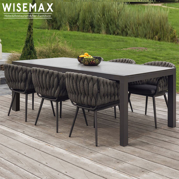 modern aluminum patio outdoor dining furniture waterproof fabric outdoor rope weaving dining chair and table set buy outdoor patio furniture outdoor