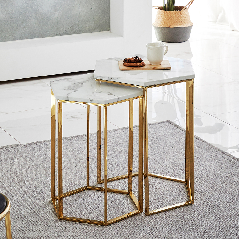 modern living room furniture gold stainless steel legs white marble top nesting coffee table set buy small coffee table designers coffee tables gold