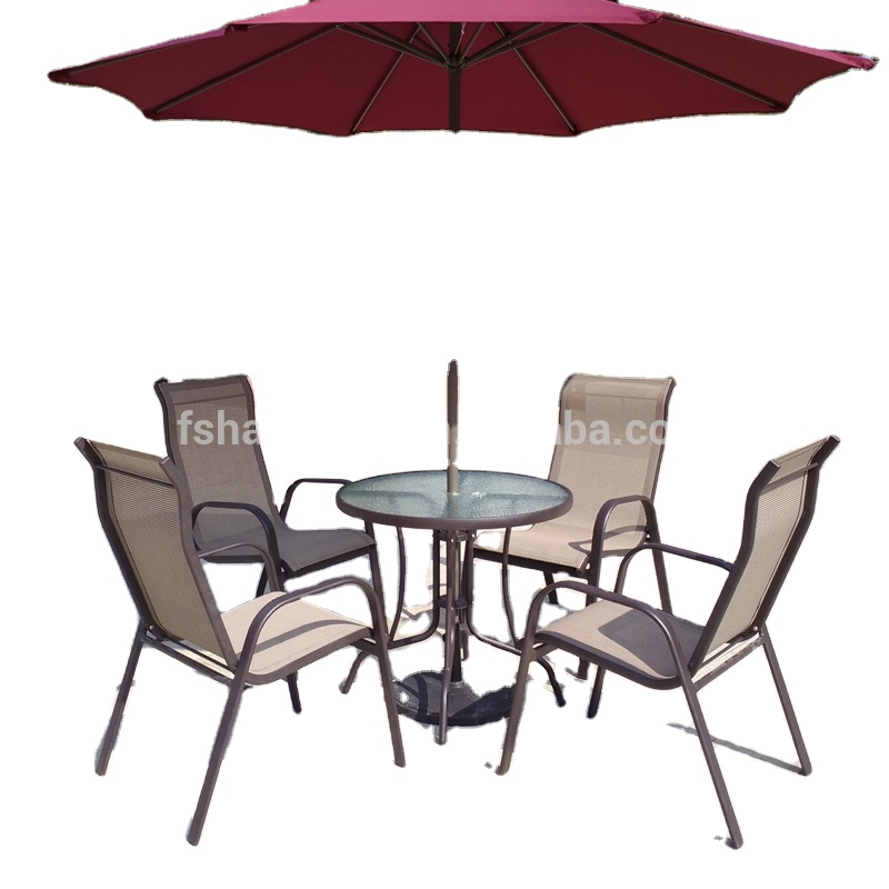 all weather proof coffee brown 5 piece outdoor garden balcony aluminum sling patio furniture round glass dining table chair set view sling dining