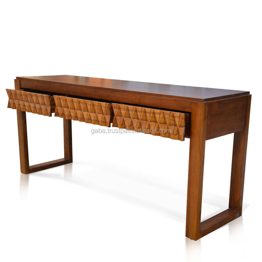 furniture console table art deco style teak wood with diamond patron front side buy art deco furniture teak wood console table console table with