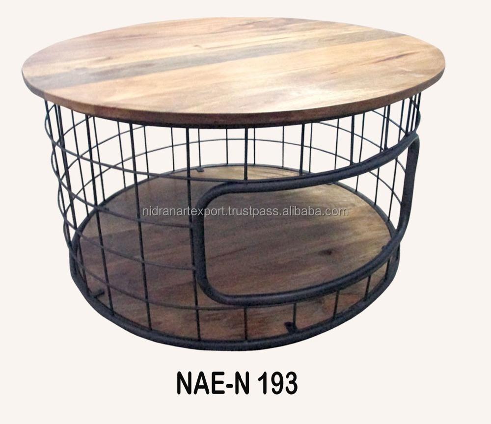 table basse ronde en bois en fer style industriel et vintage avec roulettes livraison gratuite buy living room wood coffee tables with