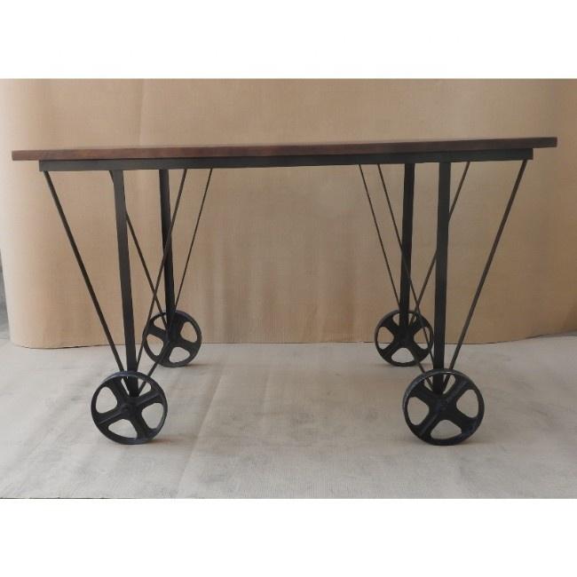 industrial vintage black iron metal solid mango wood coffee table with wheel buy living room wood coffee tables with wheels living room wood