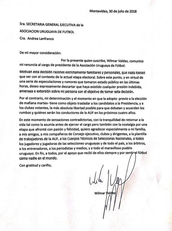 La carta de despedida de Wilmar Valdez  Ovacin  3007