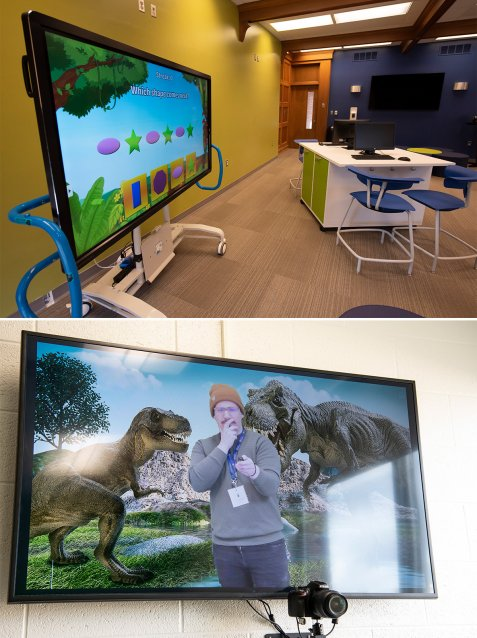Two images of the Experience Center, one of the Innovation Center and the other of a green screen.