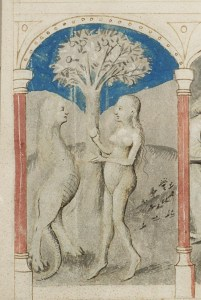 Eve receiving the apple from the Serpent and the fall from Unity