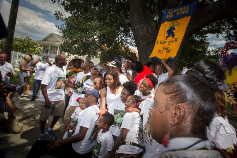 Robert Green, friends, and family in a Second Line.