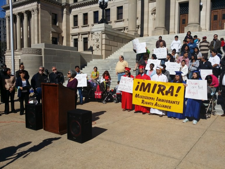 A protest in favor of immigrants rights at the Mississippi state legislature. Photo by Robert L. Reece.