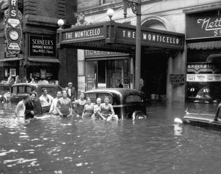 Granby St in Norfolk flooded during the 1933 Chesapeake-Potomac Hurricane. Courtesy of Sergeant Memorial Collection, Norfolk Public Library.