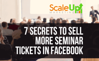 an image banner that says 7 secrets to sell more seminar tickets in facebook