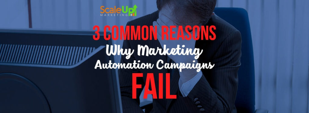 "header image of the blog title ""3 Common Reasons Why Marketing Automation Campaigns Fail"" with a man wearing a corporate attire looking depressed in front of a computer monitor"
