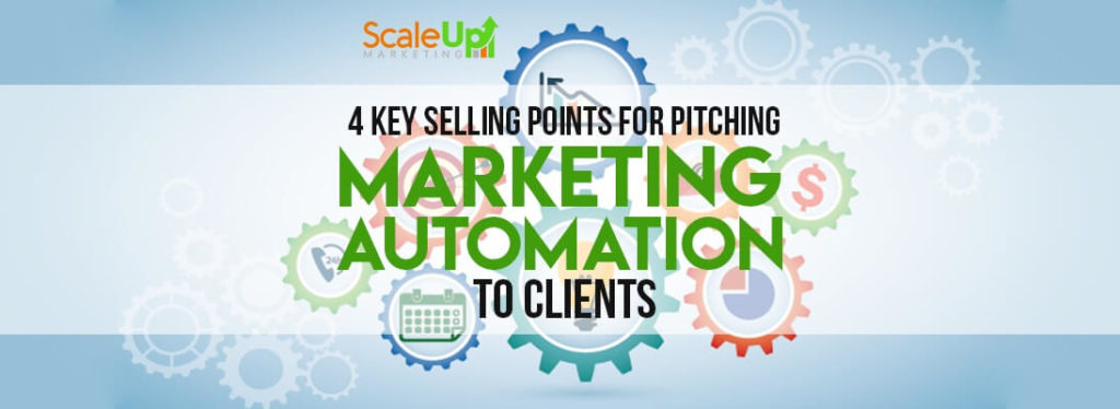 "header image of the blog title ""4 Key Selling Points For Pitching Marketing Automation To Clients"" with icons relating to marketing automation software inside the gears"