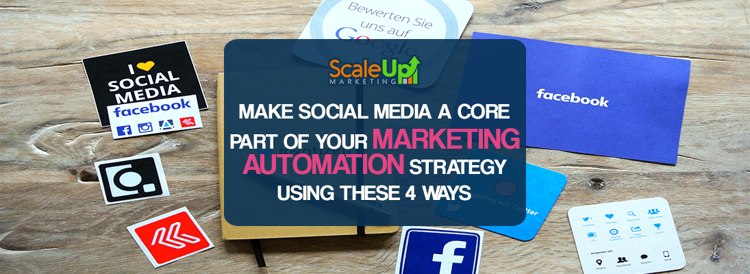 "header image of the blog title ""Make Social Media A Core Part Of Your Marketing Automation Strategy Using These 4 Ways"" behind it is a wooden background and a brown memo notebook with cardboards square cut printed icons and texts relating to social media"
