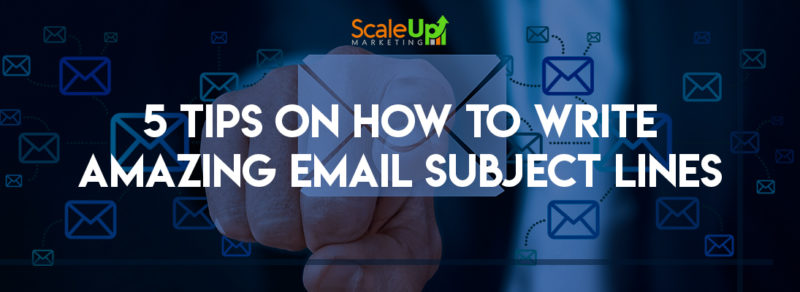 "header image of the blog title ""5 Tips On How To Write Amazing Email Subject Lines"" with a background of email icons and a hand pointing to a big email icon in the center"