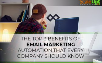 "blog title ""The Top 3 Benefits of Email Marketing Automation That Every Company Should Know"" a header with a background of a man wearing checkered polo and cap in front of a desktop inside an office"