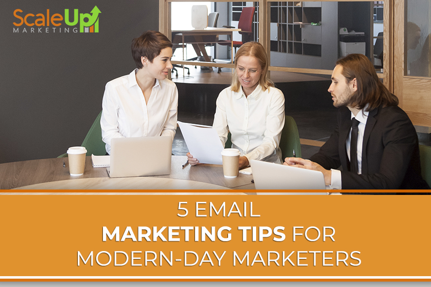 "a blog title ""5 Email Marketing Tips for Modern-day Marketers 