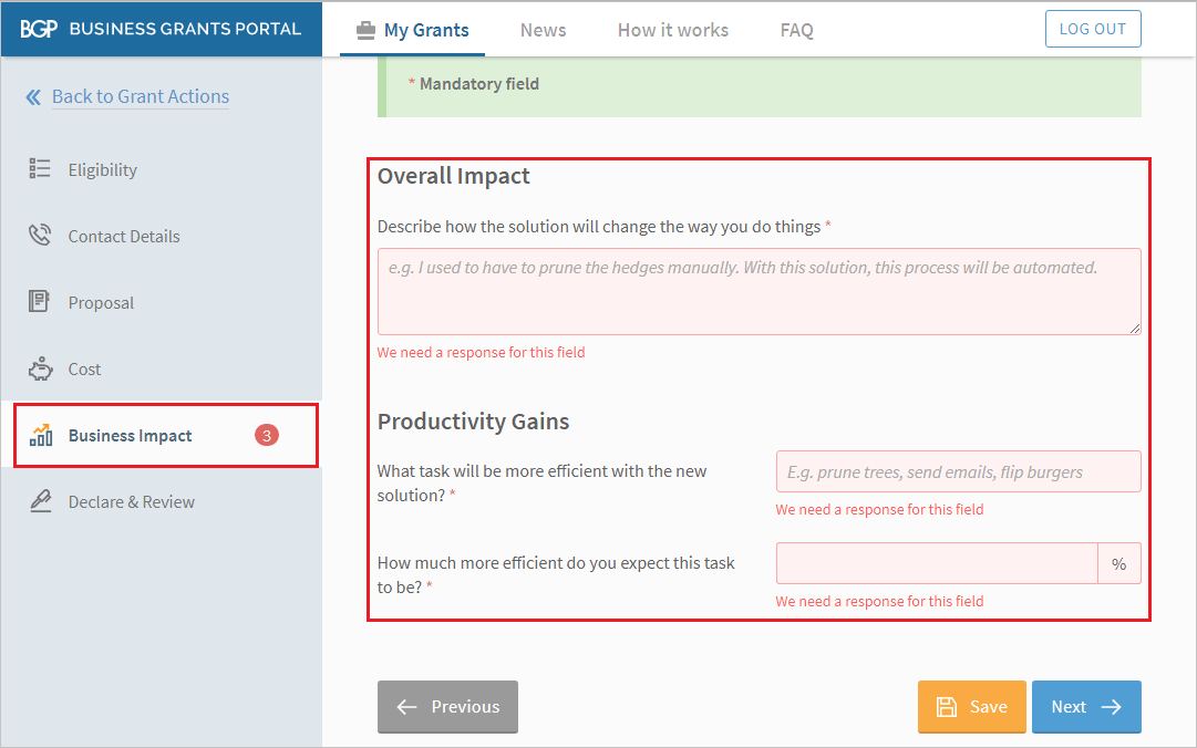 screenshot image that asks to answer questions about the potential business impact, this is one of the process on how to apply to productivity solutions grant using business grants portal